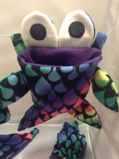Purple Rainbow Drop Sea Monster Pouch / Cuddle Sack Compete Fleece Cage Set For…