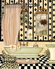 Elegant Bath II, one of Janet Kruskamp's original oil paintings and personally enhanced and hand signed giclees of interior and exterior scenes.
