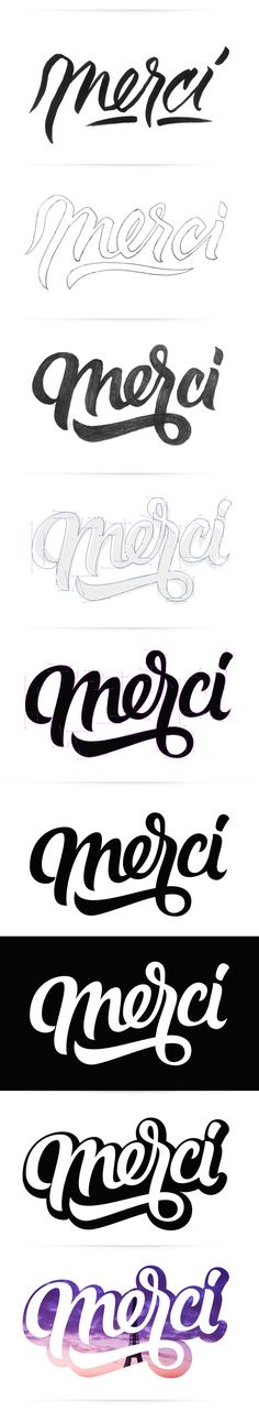 Merci by Oscar Montoya, via Behance #process #handlettering