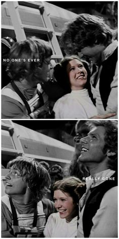 I don't know if this is un-colorizing Luke and Han because they are dead in the movies, or if it is highlighting Carrie because she is gone in real life. Either way, crying.....