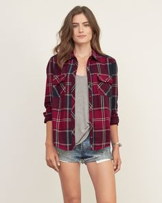 *ABERCROMBIE & FITCH || Flap pocket plaid shirt | Camisa a cuadros con bolsillo de solapa