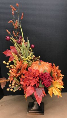 Orange and Red Pumpkin Arrangement by Andrea