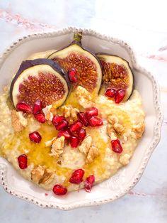 Pomarańczowo-orszechowa kasza jaglana z figami i granatem (wegańskie, bezglutenowe, bez cukru)
