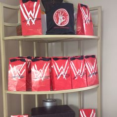 WWE wrestling favor bags for my twins 6th B-day.