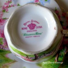 """In 1933, G. R. Palmeter left a meeting of the Apple Blossom Committee at the Cornwallis Inn to purchase china from a representative of the Royal Albert China of England. While there, he asked the salesman about creating a pattern called """"Blossom Time,"""" to tie in with the Apple Blossom Festival. The design is an actual picture of the Ralph Eaton farm, in the Annapolis Valley. {Nova Scotia, Canada} The result was """"BLOSSOM TIME CHINA""""."""
