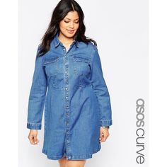 ASOS CURVE A-Line Shirt Dress in 70's Blue ($55) ❤ liked on Polyvore featuring dresses, blue, plus size, snap dress, womens plus dresses, plus size dresses, tall plus size dresses and a line dress