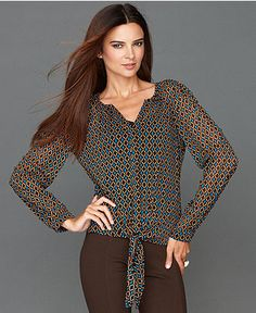 INC International Concepts Shirt, Long-Sleeve Tie-Hem Printed - INC Tops - Women - Macy's