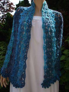 7287d53c472 stole Cape in blue wool crochet handmade for women or teen girl accessories  fashion. Blue women scarf. Gift for woman. Cadeau De Noel OriginalLaine ...