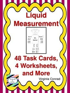 This mini-unit on converting liquid measures using cups, pints, quarts, and gallons offers a variety of learning materials.There is a labeled template for Mr. Gallon and a blank one for students to fill out. There are 2 sets of task cards. Each set has 24 cards.