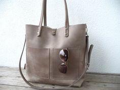 Leather bag, large leather bag, big leather bag, leather bag woman, leather bag women, modern laptop bag, Enie frontpocket - mud-grey!  The