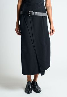RUNDHOLZ, WOOL SKIRT WITH WIDE BELT. | @andwhatelse