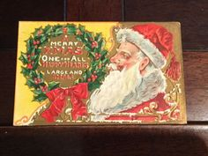Merry Christmas One And All Antique Postcard Santa Claus St Nicholas 1909 PM