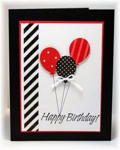 handmade birthday card from Scrappin' and Stampin' in GJ ... bold graphic look ... luv the diagonally striped column and punched balloons ... black and white with pops of red ... Stampin' Up!