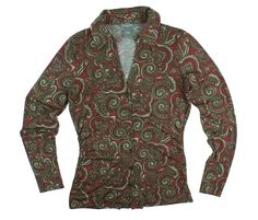 ANN TAYLOR Size XS Olive Green & Red Paisley Knit Button Down Shirt #AnnTaylor #KnitTop