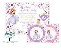 Sofia the first  Princess Birthday tea party theme Invitation