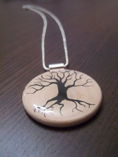 Hand painted wood pendant necklace by KatMariee on Etsy