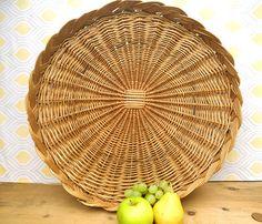 Vintage wicker bread tray bread basket . Large wicker serving