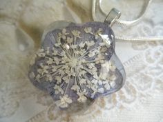 Soft Blue Hydrangea Queen Anne's Lace Glass by giftforallseasons