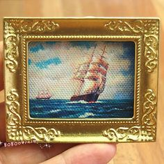 "Mouse over image to zoom                              Have one to sell? 	Sell it yourself           Dollhouse Miniature 1:12 Toy Frame Picture Tableau On Canvas Sailing Ship.  Size: Length  7.3cm   2""9/10   ;  Height  6.1cm   2""2/5"