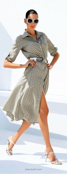 white polka dots on a taupe shirt dress women fashion outfit clothing style apparel closet ideas Dot Dress, Dress Skirt, Shirt Dress, Wrap Dress, Trendy Dresses, Nice Dresses, Summer Dresses, How To Wear Belts, Style Feminin