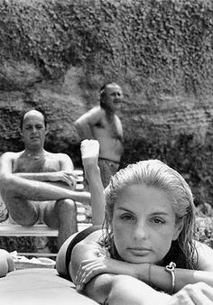 'Cultivated Highflyers' - the title given to this photograph of Carolina and Reinaldo Herrera by photographer Milton Gendel. Taken at Formentera, Mallorca in 1976.