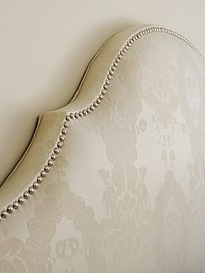 Nail head trim on headboard in a Mid-Century Family Home - Master Bedroom (Sarah Richardson Design) Farmhouse Upholstery Fabric, Upholstery Tacks, Furniture Upholstery, Upholstery Repair, Upholstery Cleaning, Furniture Design, Sarah Richardson, Nailhead Trim, Home And Family