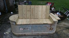 DIY bench seat with stock tank from Tractor Supply