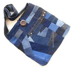 OOAK Bohemian Sling Jean bag Large Random by BarefootModiste, $72,00
