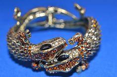 Kenneth Jay Lane TWO Head Alligator Bracelet Rare Amber Topaz Pave Crystals S #KennethJayLane #Bracelet