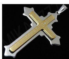 Pingente Masculino Crucifixo Mescla (Prata e Dourado) em Aço inox com a Oração Pai Nosso!!!