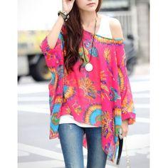 Stylish Loose-Fitting Printed Women's Chiffon Blouse Blouses | RoseGal.com Mobile
