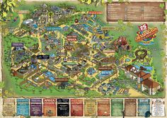 All sizes | Chessington World of Adventures 2012 Theme Park Map Illustration by Rod Hunt, via Flickr.