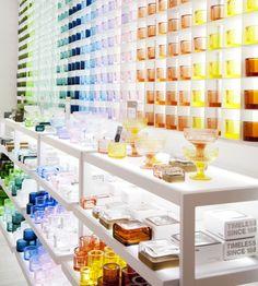 Iittala flagship store by Pentagon Design, Helsinki - Finland Colour blocking