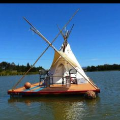 Floating Tipi, talk about a mobile home, tent and sail boat in one Cabana, Tiny House Blog, Survival, Floating House, Wood Bridge, Plein Air, Play Houses, Rafting, The Great Outdoors