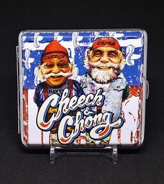 Cheech & Chong Style #4 Silver Framed PU Leather King Size Cigarette Case