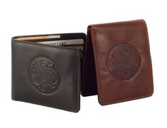 This leather bi fold wallet is embossed with a Celtic design including subtle imagery of four Irish wolf hounds! Not only is the wallet authentically Irish, it conveniently features eight slots for cards and dual currency pockets ensuring your items are organized! This Irish wallet is crafted from genuine leather that is vegetable tanned, a process that uses natural ingredients such as the bark of chestnut trees