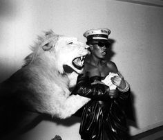 Grace Jones and the Lion at Area Club NY Digital Print by Ben Buchanan Punk Guys, Spanish Towns, Grace Jones, Afro Punk, Alternative Girls, Lady And Gentlemen, Amazing Grace, Tomboy, Digital Prints