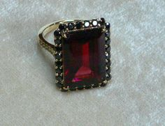 Items similar to Gorgeous Large Mozambique Garnet Ring with Black Diamonds and gold on Etsy Garnet Jewelry, Garnet Rings, Jewelry Gifts, Jewelry Box, Jewelry Accessories, Jewelry Making, Jewellery, Rings N Things, My Birthstone