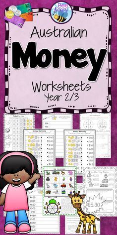 Australian Money Worksheets  Counting groups of coins, matching prices, shopping problems and calculating change - all these activities and more. 29 worksheets that require no preparation whatsoever, just print and go, with the option to print one of the worksheets in colour, to laminate and use as a game in a math centre. Plenty of variety to keep the children interested and learning. Different levels are included to provide differentiation for your groups.