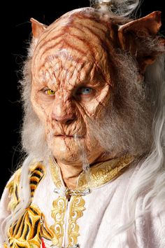 """Spotlight Challenge: """"Battle of the Beasts"""" - close up of Cig's wise, old tiger martial arts master. He's got a lot of personality, and those scars look more interesting than the usual facial scars. Face Off Makeup, Sfx Makeup, Costume Makeup, Maquillage Halloween, Halloween Makeup, Weird Creatures, Fantasy Creatures, Aliens, Face Off Syfy"""