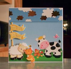 Handmade Birthday Card was made using die cuts & printed card stock from the Farmyard Friends collection by Hunkydory.
