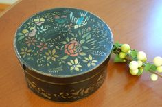 Antique Black Stenciled Pantry Box, Decorative Round Wooden Box, Wooden Storage Box, Collectible Box, Gift