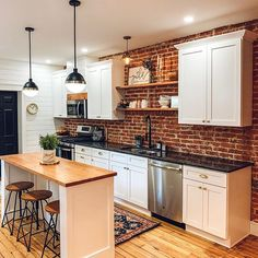 Like These Industrial DecorIdeas? Visit Us For More Industrial Kitchen Inspirations Industrial Kitchen Design, Interior Design Kitchen, Kitchen Decor, Industrial Kitchens, Kitchen Backslash, Black Kitchen Faucets, Brick Wall Kitchen, House Extension Design, House Design