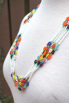 Vintage seme di perline bugle Multicolor bianco Sfaccettate