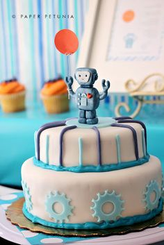 Robot Cake! // Robot-Themed Baby Shower - Fort Lauderdale // Cake Design by Catherine Silva Designs - www.facebook.com/catherinesilvadesigns