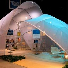 Billedresultat for exhibition design with stretch textile Dome Structure, Fabric Structure, Membrane Structure, Modular Structure, Tensile Structures, Temporary Structures, E Motion, Parametric Design, Water Tower