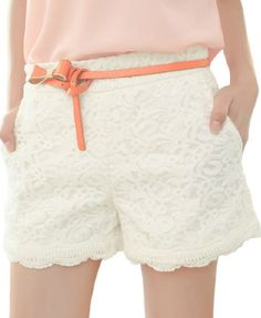 White High Waist Lace Shorts