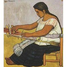 Diego Rivera (Guanajuato, México, 1886-1957) ~ A Woman Weaver ~ Diego María de la Concepción Juan Nepomuceno Estanislao de la Rivera y Barrientos Acosta y Rodríguez, known as Diego Rivera was a prominent Mexican painter and the husband of Frida Kahlo.