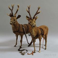 Pair of Papier-mache Reindeer Antique Christmas Ornaments, Christmas Deer, Christmas Past, Primitive Christmas, Country Christmas, Christmas Candy, Vintage Christmas, Christmas Holidays, Christmas Crafts
