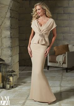 71203 Evening Gowns / Dresses Crepe with Beaded Lace and Applique